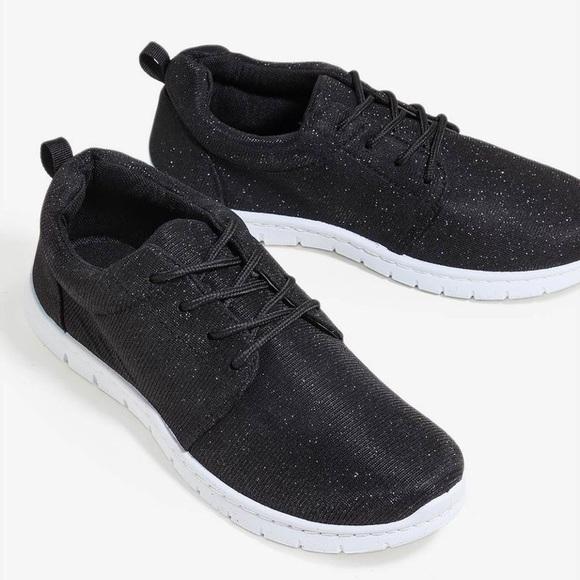 Shoes | Black Glitter Tennis | Poshmark